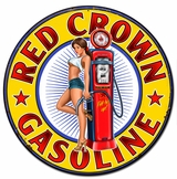 Red Crown Gasoline Metal Sign