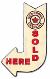Red Crown Sold Here Arrow Metal Sign