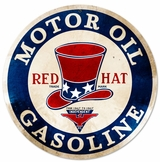Red Hat Gasoline Metal Sign