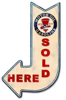Red Hat Sold Here Arrow Metal Sign