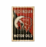 Red Indian Motor Oil Corrugated Framed Metal Sign