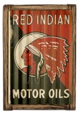 Red Indian Motor Oil Corrugated Metal Sign