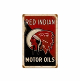 Red Indian Motor Oils Metal Sign