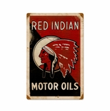 Red Indian Oil Metal Sign