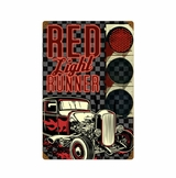 Red Light Runner Metal Sign