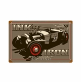 Red Tire Rod Metal Sign