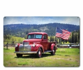 Red Truck American Flag Metal Sign