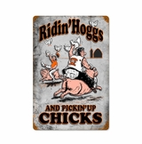 Riding Hogs with Wood Frame Metal Sign