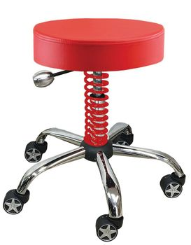 Rolling Garage Stool Red