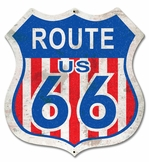 Route 66 Red White Blue Metal Sign