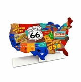 Route 66 Usa Road Map Topper Metal Sign
