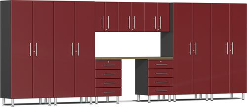 Ruby Red Metallic MDF 10-Piece Kit with Bamboo Worktop