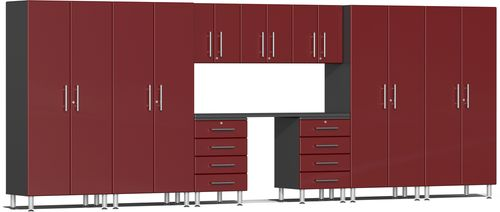 Ruby Red Metallic MDF 10-Piece Kit with Recessed Worktop