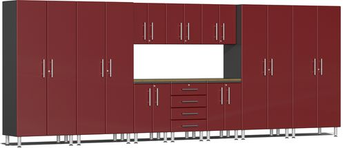 Ruby Red Metallic MDF 11-Piece Kit with Bamboo Worktop