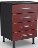 Ruby Red Metallic MDF 4-Drawer Base Cabinet