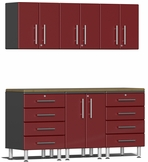 Ruby Red Metallic MDF 7-Piece Kit with Bamboo Worktop