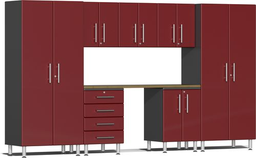Ruby Red Metallic MDF 8-Piece Kit with Bamboo Worktop