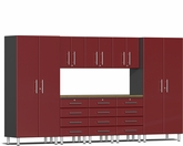 Ruby Red Metallic MDF 9-Piece Kit with Bamboo Worktop