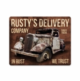 Rusty'S Delivery Co. In Rust We Trust Metal Sign