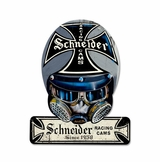 Schneider Cams Helmet Metal Sign