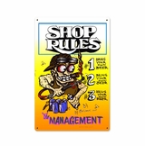 Shop Rules Metal Sign
