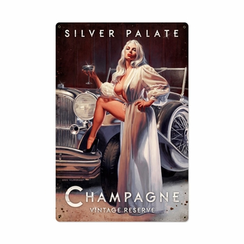 Silver Palate Champagne Metal Sign