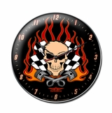 Skull Race Metal Clock