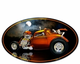 SKULL RAT ROD Metal Sign