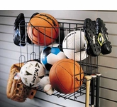 Slatwall Sports Rack and Basket