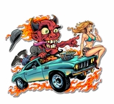 Speed Demon Flaming Hot Rod Metal Sign
