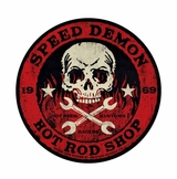 Speed Demon Red Skull Metal Sign