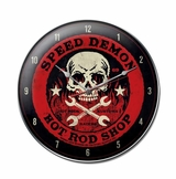 Speed Demon Red Skull Metal Clock