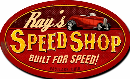 Speed shop oval personalized Metal Sign