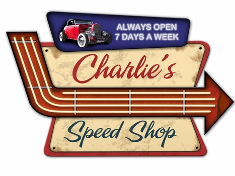 Speed Shop Personalized 3 D Metal Sign