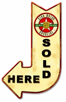 Star Motor Sold Here Arrow Metal Sign