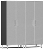 Stardust Silver Metallic MDF 2-Pc Tall Cabinet Kit