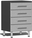 Stardust Silver Metallic MDF 4-Drawer Base Cabinet