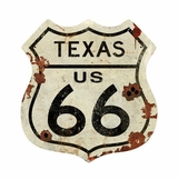 Texas US 66 Shield Vintage Plasma Metal Sign
