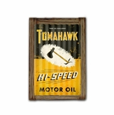 Tomahawk Oil Corrugated Framed Metal Sign