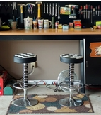 Two Checkered Shop Stools