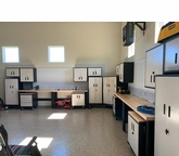 Two Workstation Walls and Corner Cabinet in Powder Coated Steel