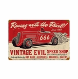 Vintage Evil Racing Devil Metal Sign