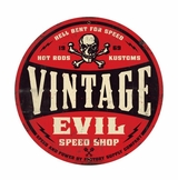 Vintage Evil Red Skull Metal Sign