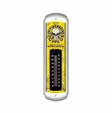 Vintage Evil Yellow Skull Metal Thermometer