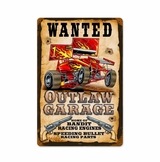 Wanted Outlaw Garage Metal Sign