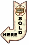 White Rose Sold Here Arrow Metal Sign