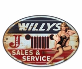 Willy's Sales and Service Metal Sign