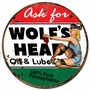 Wolf's Head Gasoline Metal Sign