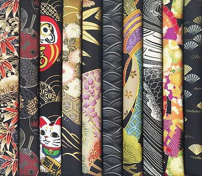 10 Black Asian Japanese Fat Quarters #27 (2 1/2 Yds.)