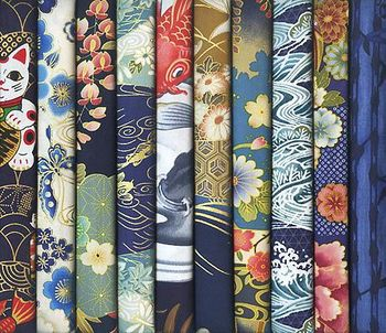 10 Blue Asian Fat Quarters #18